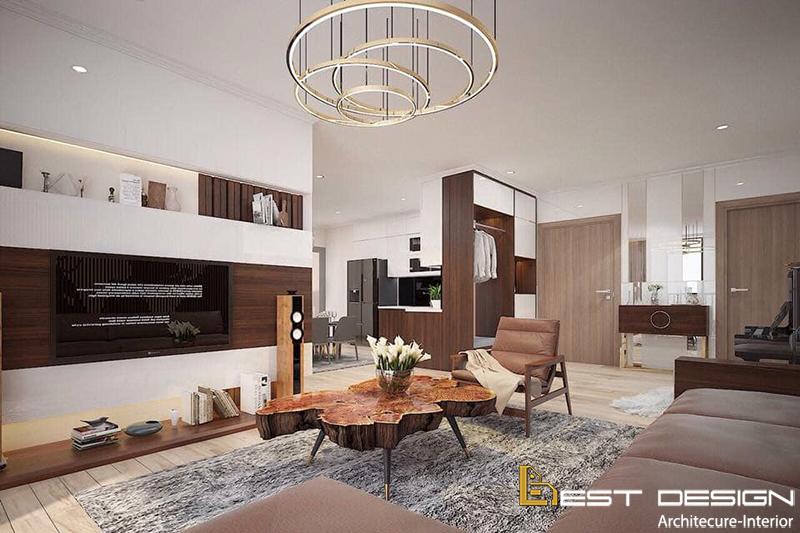 Thiết kế nội thất chung cư gỗ tự nhiên